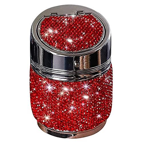 Fransande Cenicero de coche automático rojo, soporte de taza de cilindro de cristal Bling portátil inoxidable sin humo con tapa para oficina de SUV de camión de coche