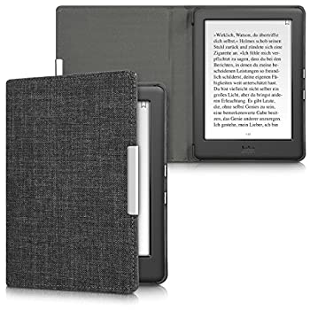 kwmobile Case Compatible with Kobo Glo HD/Touch 2.0 - Book Style Fabric e-Reader Cover Flip Folio Case - Dark Grey