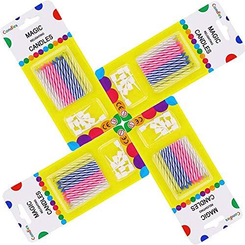 Magic Relight Geburtstagskerzen - 40 Stück Kuchenkerzen Fun Prank Kit Kuchen Tricks und Dekorationen Trickkerze für Geburtstag, Party, Weihnachten, Feier