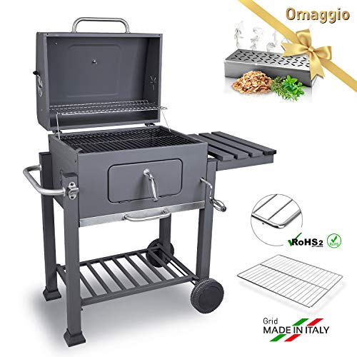 DARDARUGA Barbecue Carbone e Carbonella, Griglia XXL Made in Italy, con affumicatore,...