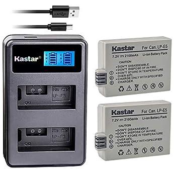 Kastar Battery  X2  & LCD Dual Slim Charger Replacement for LP-E5 LPE5 and EOS Rebel XS Rebel T1i Rebel XSi 1000D 500D 450D Kiss X3 Kiss X2 Kiss F Digital Camera BG-E5 Grip