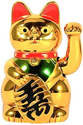 ZAMTAC Zerodis Good Luck Cat Welcoming Gold Beckoning Waving Lucky Cat Figure Moving Arm Cat Waving