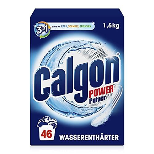 Calgon 3-in-1 Power Pulver – Wasserenthärter gegen Kalkablagerungen und Schmutz in der Waschmaschine – Beugt unangenehmen Gerüchen vor – 1 x 1,5 kg