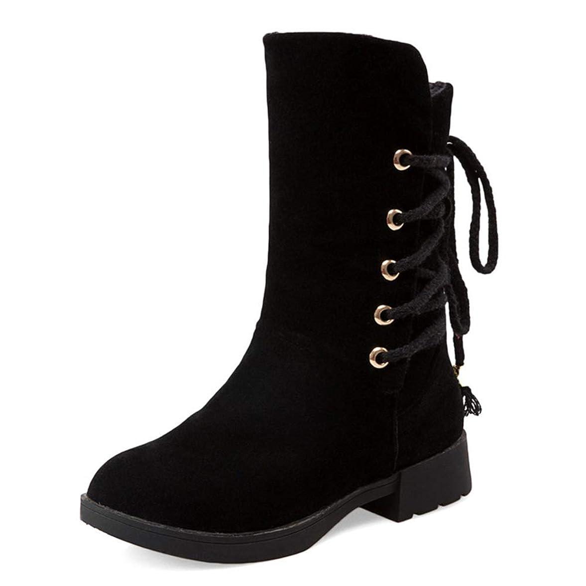 レモン石炭ライナー[モリケイ] ミドルブーツ バックレースアップ リボン レディース ローヒール チャンキーヒール スエード 4色 ブラック ブラウン ベージュ グレー シンプル 靴 ブーツ 滑り止め カジュアル 可愛い 裏ボア