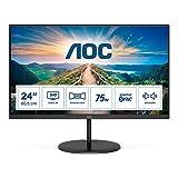 AOC Q24V4EA - Monitor QHD da 24', AdaptiveSync (2560 x 1440, 75 Hz, HDMI, DisplayPort), colore: Nero