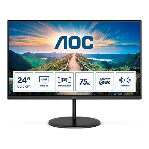 AOC Q24V4EA - Monitor QHD de 24 Pulgadas, AdaptiveSync (2560 x 1440, 75 Hz, HDMI, DisplayPort), Color Negro