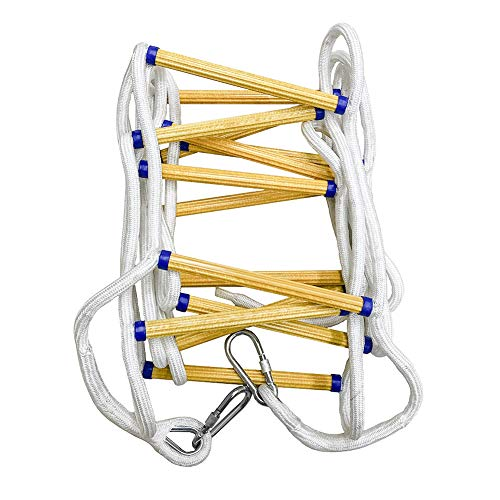 QWORK Emergency Fire Ladder Flame Resistant Safety Rope Escape Ladder with Carabiners for Fast to Deploy in Fire, Weight Capacity up to 2000 pounds, 2 Story 16 FT
