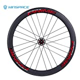 Winspace - Juego de ruedas de fibra de carbono 700C para bicicleta de carretera, freno de disco de 4 rodamientos, color Red tubular, tamaño 50 mm