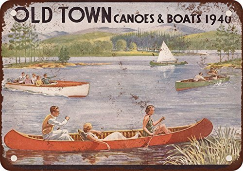 PixDecor 1940 Old Town Canoes & Boats Vintage Look Metal Sign Wall Decoration Garage Shop bar Living Room Wall Art tin Sign 8X12 Inches