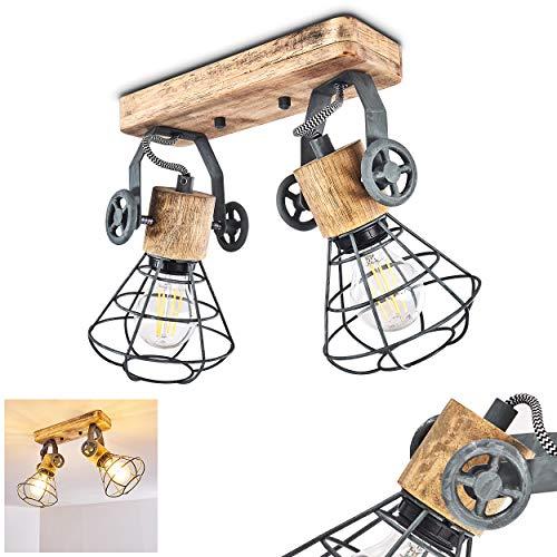 Lámpara de techo Nifun, de metal/madera en Gris/Marrón, 2 llamas, con focos regulables, toma E27 máx. 60 vatios, spot en diseño retro/vintage, también utilizable como lámpara de pared