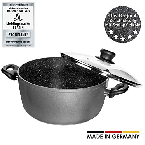 STONELINE® Made in Germany Kochtopf 24 cm, mit Glasdeckel, auch für öl- und fettfreies Braten, Kratzfeste Antihaftbeschichtung mit echten Steinpartikeln, Induktionstopf