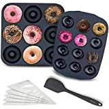 Chefast Silicone Donut Pans Combo Kit: Non-Stick Large and Mini Donut Pan Baking Molds, Spatula, and 5 Pastry Bags - for Full-Size and Small Donuts - Bagels and Doughnuts Maker Set