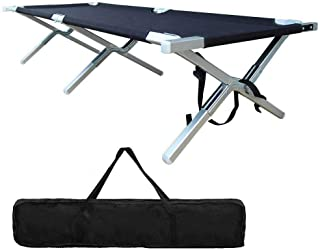 Foldable Camping Cot Portable - Lightweight Camping Bed Military Grade Aluminum for Adult Heavy Duty Outdof Tent Hunting Indoor with Carry Bag Easy Set Up - Test 450 lbs Capacity