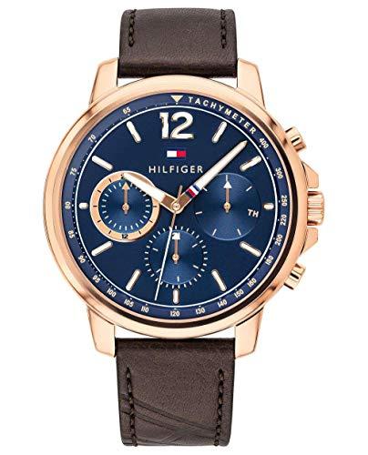 Tommy Hilfiger Herren Multi Zifferblatt Quarz Uhr mit Leder Armband 1791532