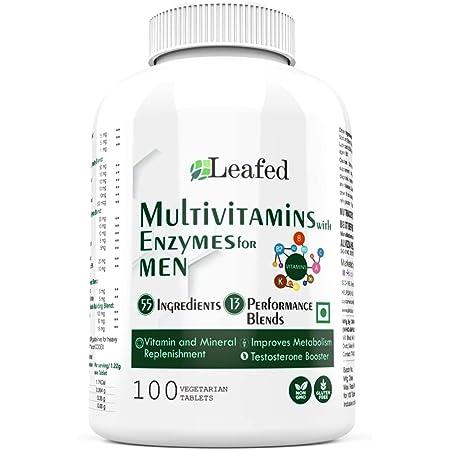 Leafed Multivitamin for Men with 55 Vital Nutrients, 13 Performance Blends - 100 Vegetarian Tablets