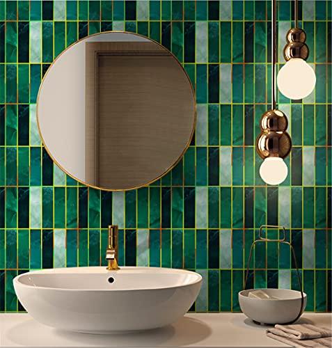 azulejos adhesivos cocina,10 piezas de pegatinas de baldosas rectangulares de estampado en caliente, pegatinas de baldosas autoadhesivas decorativas impermeables de PVC para baño