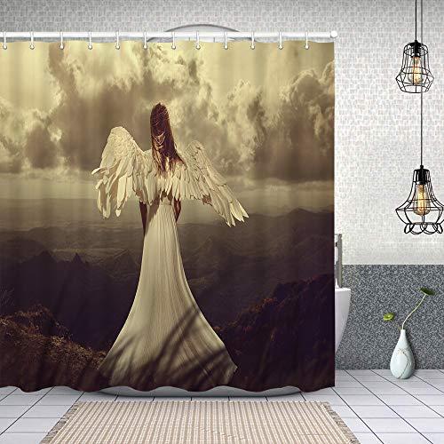 Cortina Baño,Vista Trasera Mujer alas Angel,Cortina de Ducha Tela de Poliéster Resistente Al Agua Cortinas de Ducha Baño con 12 Ganchos,150x180cm