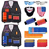 Hely Cancy Kids Tactical Vest Kit 2 Pack Complitable with Nerf N-Strike Elite for Boys, with Reload Clip Tactical Mask Wrist Band Protective Glasses and 80pcs Soft Darts