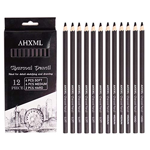 AHXML Professional Charcoal Pencils Drawing Set - 12 Pieces Soft Medium and Hard Charcoal Pencils for Sketching, Shading, Drawing, Artist Pencils for Beginners & Artists(No Sharpening)