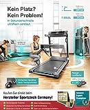 Sportstech FX300 Ultra Slim Laufband – Deutsche Qualitätsmarke – Video Events & Multiplayer APP, Riesen Lauffläche 51x122cm & kein Aufbau, 16 km/h,USB Ladeport, Pulsgurt kompatibel für Cardio Training - 4