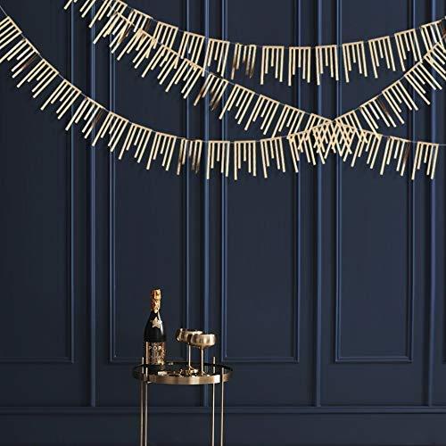 39Feet - Papel de papel doble para colgar en la pared, diseño con texto en inglés 'Metallic Champagne Gold Metallic