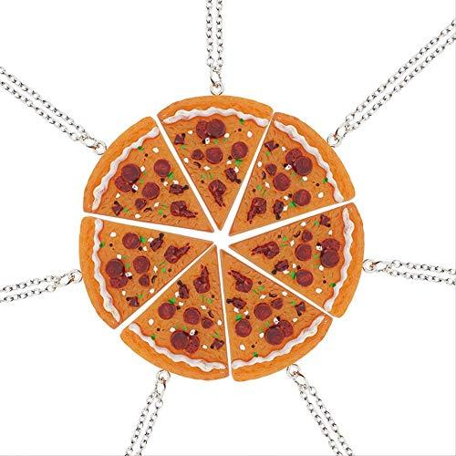 xtszlfj 1 Uds Mejores Amigos Empalme Collar de Pizza simulación Collares con dijes de Comida para Amantes de BFF joyería de la Amistad