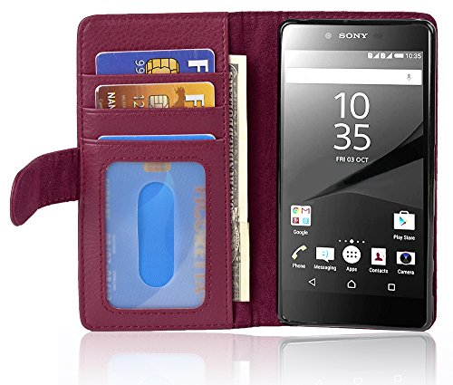 Cadorabo Hülle für Sony Xperia Z5 Premium - Hülle in Bordeaux LILA – Handyhülle mit 3 Kartenfächern - Hülle Cover Schutzhülle Etui Tasche Book Klapp Style