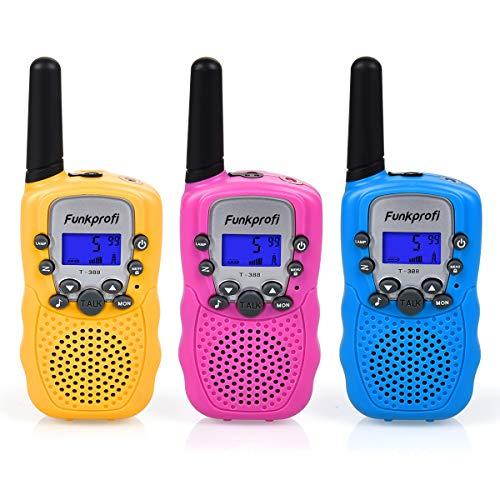 Funkprofi 3X T-388 Walkie Talkie Set für Kinder Funkgeräte PMR 446 3KM Reichweite 8 Kanal Spielzeug und Geschenk für Kinder ab 3 Jahre (Blau+Pink+Gelb)