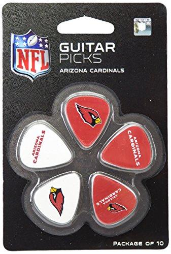 Woodrow Guitar by The Sports Vault Palhetas de guitarra NFL Arizona Cardinals, pacote com 10, vermelho