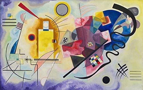 HXLFYM Kunst Leinwand Malerei Gelb-Rot-Blau Von Wassily Kandinsky Ölgemälde Auf Der Wand Berühmten Kunstwerk Reproduktionen Leinwand Kunstdruck Wanddekoration (Size (Inch) : 70x110cm)