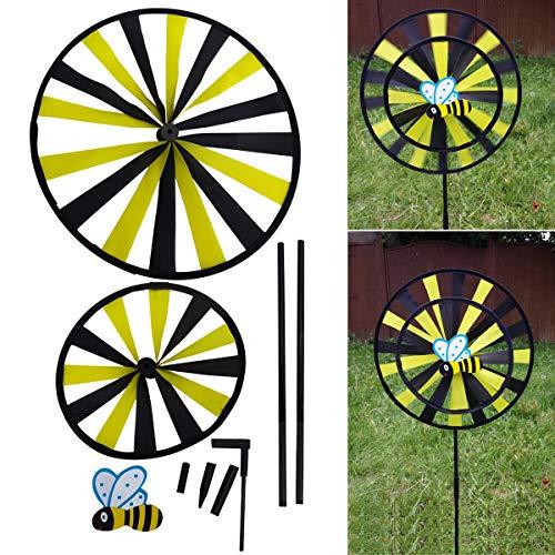 Schone Products (UK) Outdoor Garden Twin Spinner 3D Efecto Plegable Atractivo Amarillo Negro diseño de Abeja Jardines, Camping, Picnic, césped