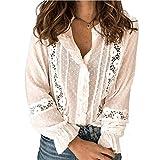 MAHUAOYIXI Blusas elegantes de mujer con volantes de manga larga de encaje de color liso blusas sexy para niña mujer elegantes cuello en V, blanco, S