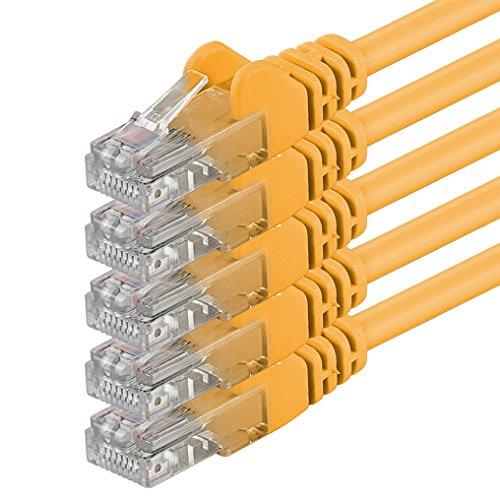 1aTTack.de 0,25m - gelb - 5 Stück - (Pack) - CAT.6 CAT6 Ethernet-LAN-Netzwerk-Kabel 1000Mbit/s Patchkabel