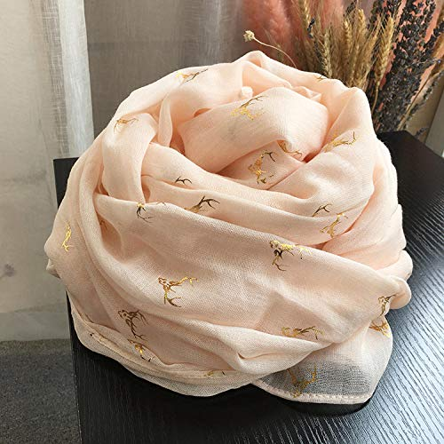 Cotton and linen scarf women oversized wild bronzing deer pure color linen literary shawl beige-Bronzing Fawn-Rice Noodles