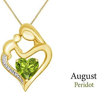 Simulated Garnet & White Natural Diamond Accent Mother & Child Heart Pendant in 14k Gold Over Sterling Silver (11/10 Cttw)