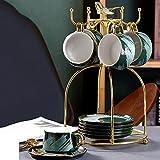 liushop Taza de café Exquisita Taza de café y platillo Set Home Ceramic Flower Tea Tea Tea Tea Set Taza de café con asa