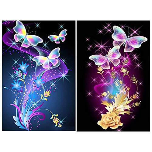 Xinstroe 2 PCS Mariposa Kits de Pintura de Diamantes, Arte de Punto de Cruz de Diamante Bricolaje de Pintura de Diamante 5D Kit de Bordado de Arte de Diamante 11,81x15,75 Pulgadas,Mariposas