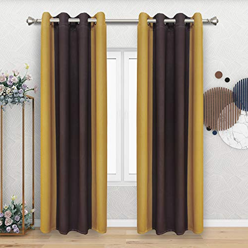 FLOWEROOM Color Block Blackout Curtains for Bedroom/Living Room, 52 x 72 Inch Long, Dark Brown and Yellow – Thermal Insulated Gradient Curtain, Grommet Window Curtains, Set of 2 Panels