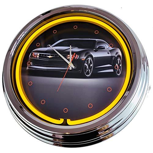 Neon Uhr Black Camaro Wanduhr Deko-Uhr Leuchtuhr USA 50's Style Retro Neonuhr Esszimmer Küche Wohnzimmer Büro (Gelb)