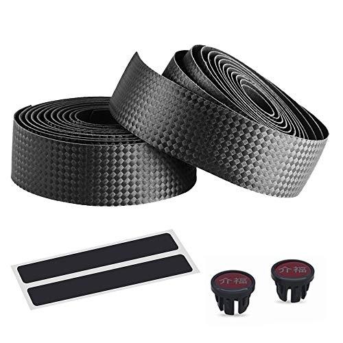 カイフク【介福】PU+EVA製バーテープ ロード用 バーテープ 自転車バーテープ ハンドルバーテープ ロードバイクバーテープ EVA/EVA+PU/EVA+シリコンゲル製 ハンドル バーテープ ロード ピスト ドロップハンドルバーテープ 軽量で柔軟 取り付け簡単 幅広い用途 ロードバイク ベビーカーなどに適しています クッション製に優れた (バーテープ*2、エンドキャップ*2、エンドテープ*2付き) (カーボン調黒)