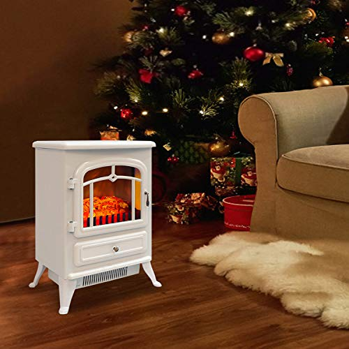 Bathonly Electric Fireplace Free Standing Heater, Compact Metal Electric Fireplace Stove with 3D Flame Effect, 750/1500W Space Heater Ultra Strong Power&Overheating Safety Protection -White