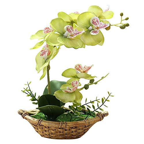 Garretlin - Flor artificial, diseño de orquídea de mariposa y bonsái, decoración de escritorio, Tela + cemento., Verde, talla única