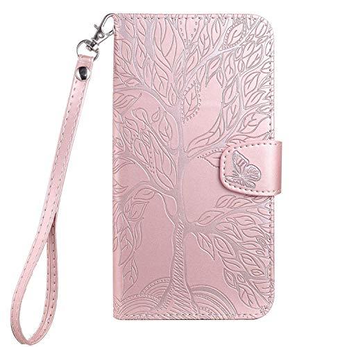 Aisenth - Funda para iPhone 6 Plus/iPhone 6S Plus, diseño de árbol, piel sintética, con tarjetero, función atril, color rosa