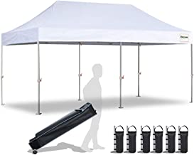 EliteShade 10'x20' Commercial Ez Pop Up Canopy Tent Instant Canopy Party Tent Sun Shelter with Heavy Duty Roller Bag,Bonus 4 Weight Bags,White