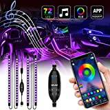 UALAU 72 LED Interior Car Lights, USB Car LED Lights APP Controller Party Light Bar Sync to Music, Multi DIY Color Under Dash Lighting Kits Car Accessories for Jeep Truck Various Car