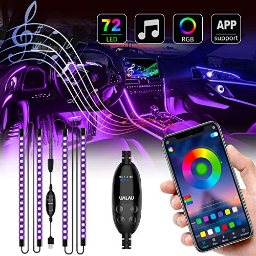 UALAU 72 LED Interior Car Lights USB Car LED Lights APP Controller Party Light Bar Sync to Music Multi DIY Color Under Dash Lighting Kits Car Accessories for Jeep Truck Various Car
