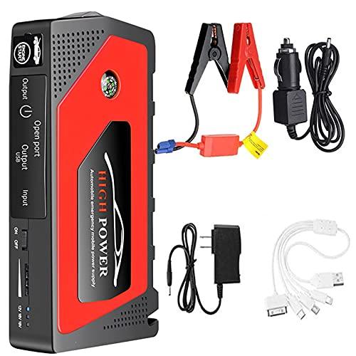 ZCME-power Arrancador de Coche 600A 12V 18000mAh con Multifunción, Motor de Gasolina 6.0L y Diesel 5.0L, Arranque de Coche Cargador Portable, Puertos USB y Linterna LED