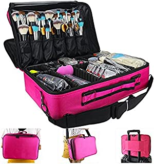 MONSTINA Large Capacity Makeup Case 3 Layers Cosmetic Organizer Brush Bag Makeup Train Case Makeup Artist Box for Hair Curler Hair Straightener Brush Set and Cosmetics 16.5x12x5.5 (L-Rose Red)
