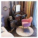 WSZMD 80 Cm Cajón Dormitorio Ensamblar Maquillaje Espejo Tocador con Luces Y Juego Mesa Patas Metal Almacenamiento Maquillaje, Tocador (Color : Green)
