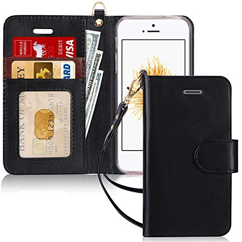 FYY Schutzhülle iPhone 5SE Schutzhülle, [Serien High-End] Ledertasche von Erste Qualität mit Coverture Allmächtige für iPhone 5SE D2-Noir SE/5S/5